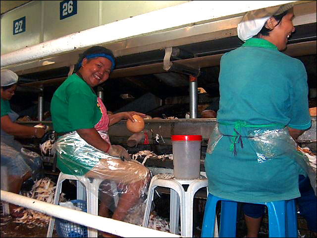 Workers in a coconut processing facility